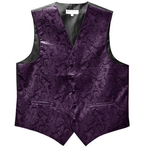 New formal men's tuxedo vest waistcoat only paisley pattern prom wedding dark purple