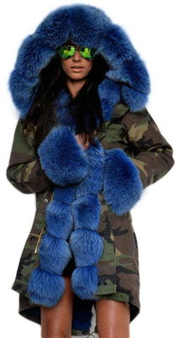 Army Parka Military Camouflage Parka Coat with Fox Fur-Blue - DESIGNER INSPIRED FASHIONS
