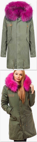 Army-Green Fur Parka Coat-Fuchsia Pink Fur - DESIGNER INSPIRED FASHIONS
