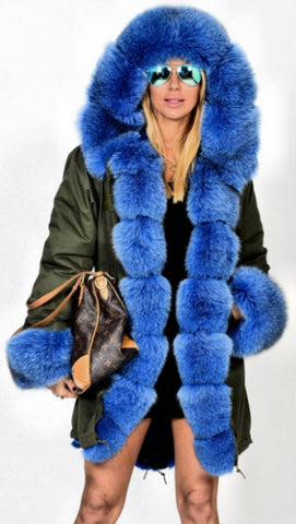 Army Parka Military Parka Coat with Fox Fur-Army/Olive Green & Blue - DESIGNER INSPIRED FASHIONS