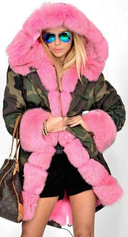 Army Parka Military Camouflage Parka Coat with Fox Fur-Pink - DESIGNER INSPIRED FASHIONS