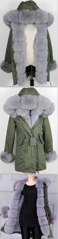 Army Parka Military Parka Coat with Fox Fur-Green/Grey - DESIGNER INSPIRED FASHIONS