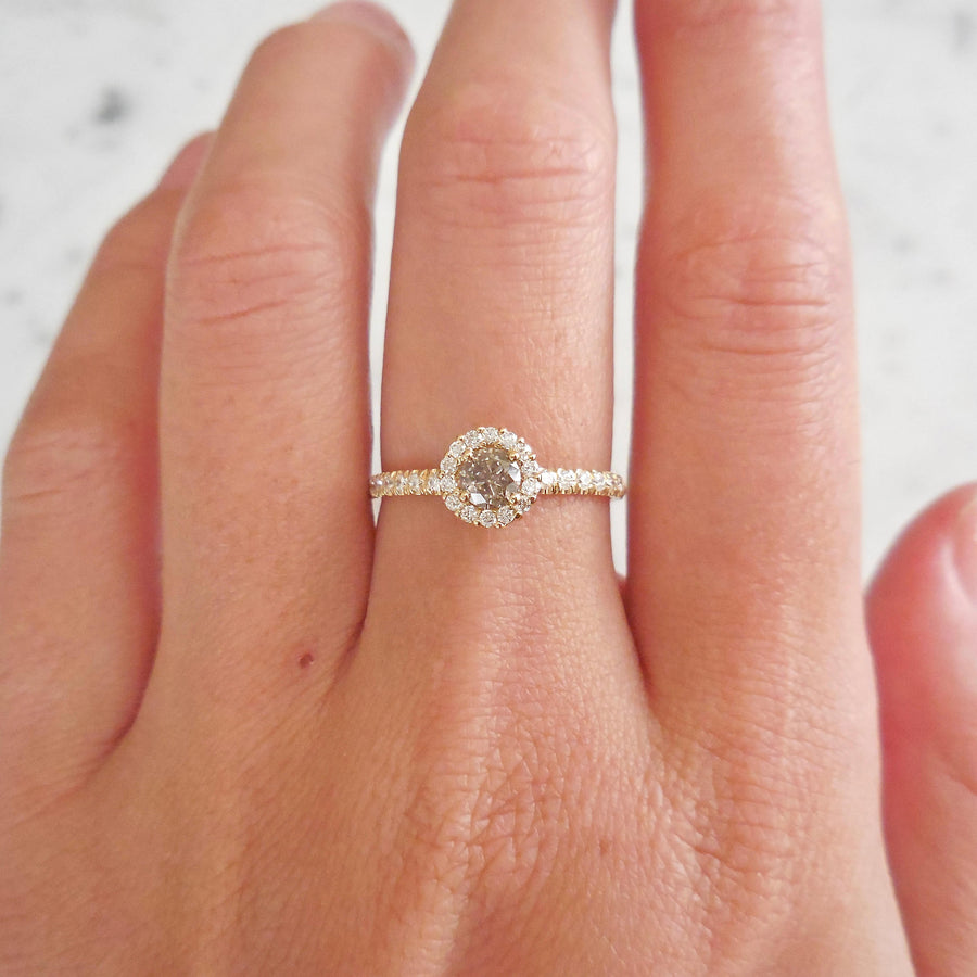 Yellow Gold Salt and Pepper Diamond Halo Engagement Ring