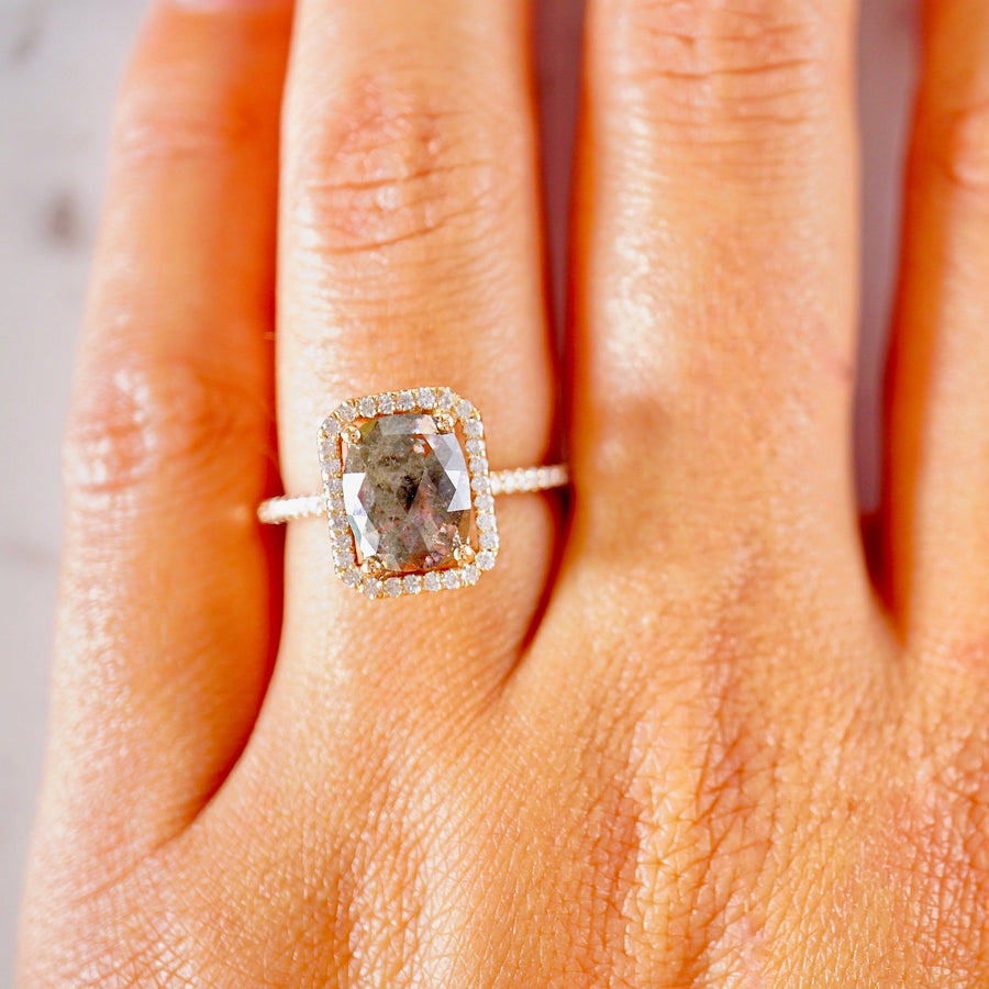 Salt And Pepper Rose Cut Diamond Engagement Ring