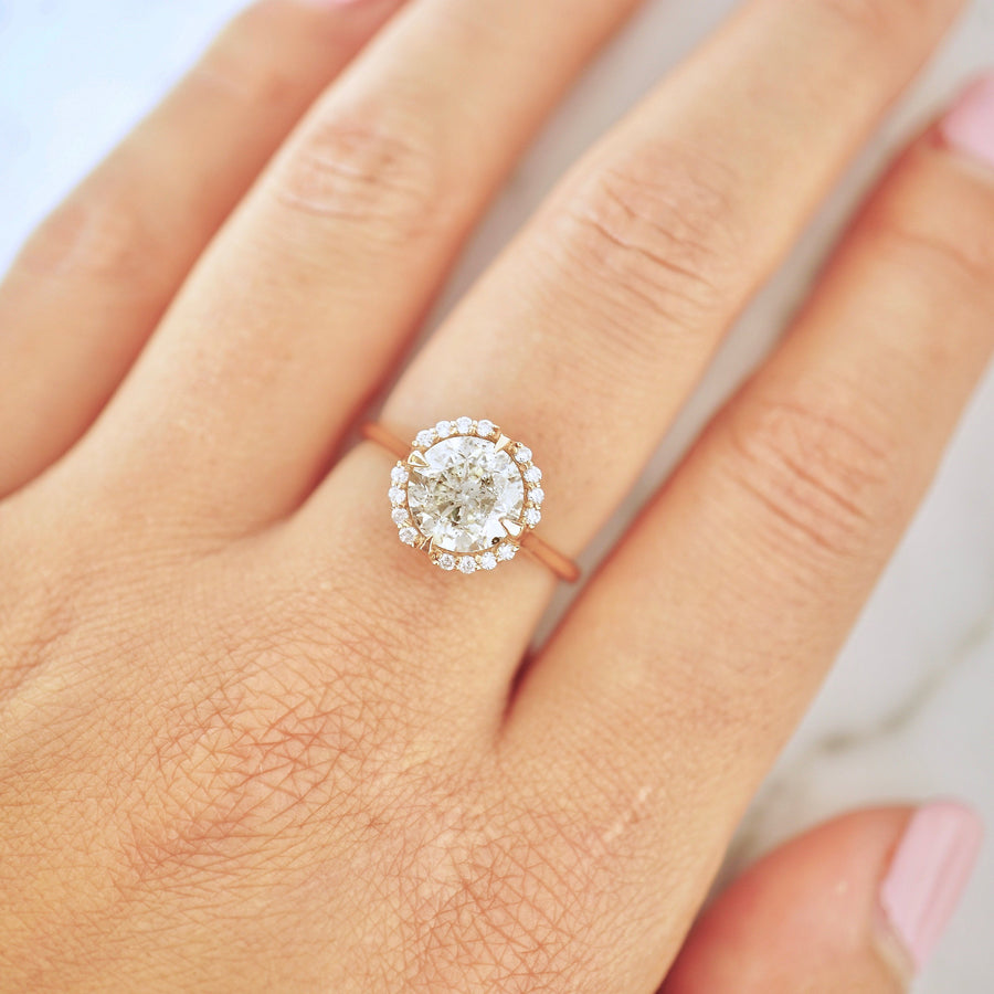 Salt And Pepper 2 Carat Diamond Compass Halo Engagement Ring