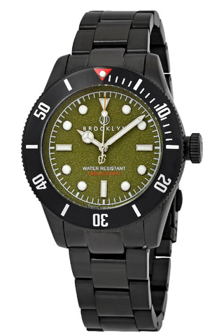 Brooklyn Watch Co. Black Eyed Pea Green Dial Mens Watch BW-306-D-88-BB-BLK