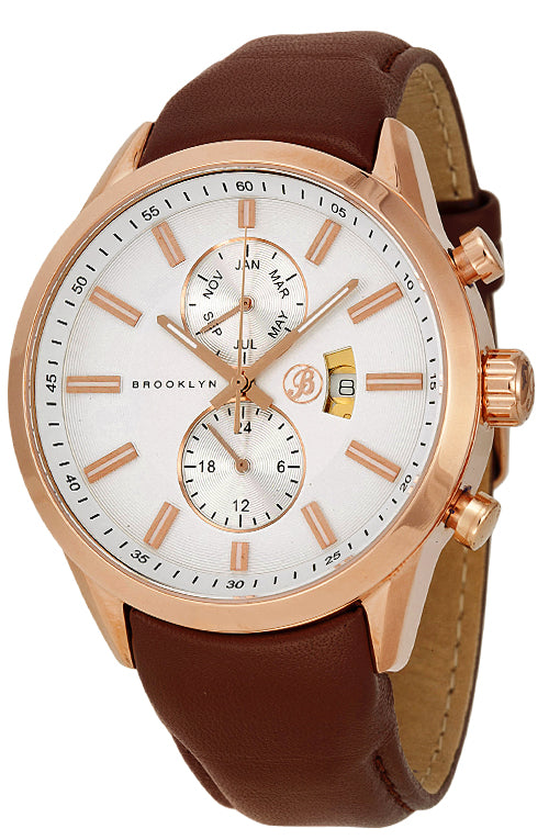 Brooklyn Fulton Silver Dial Brown Leather Swiss Quartz Mens Watch FL-RG-SV-BR