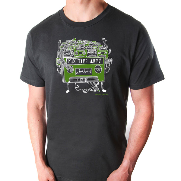 Mix Tape Army t-shirt on grey organic cotton by Mild West Heroes