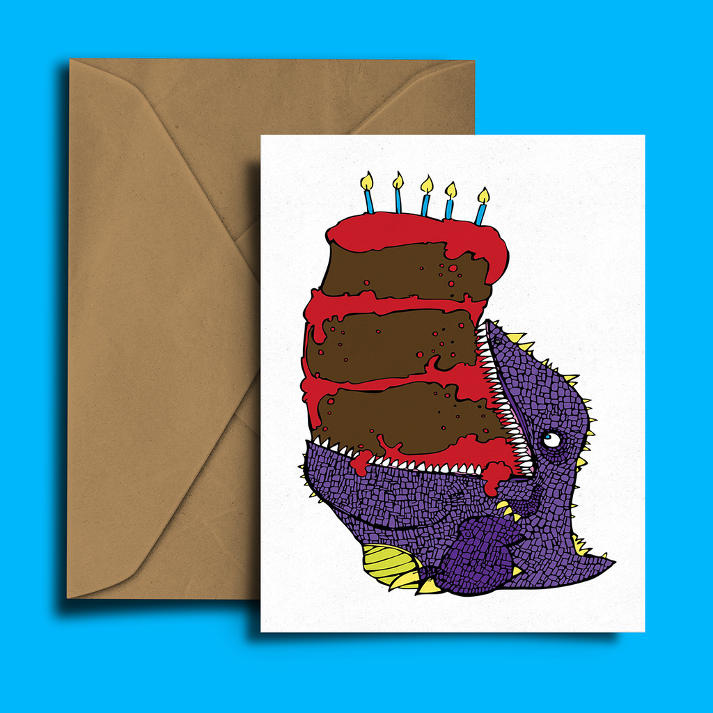 Dinosaur Cake Birthday Card