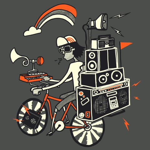 Boom Box Bicycle </br>organic cotton t-shirt - Mild West Heroes  - 1