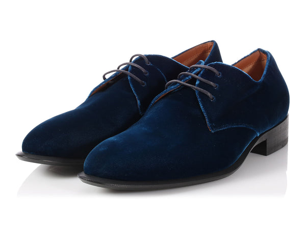 Céline Blue Velvet Lace Up Oxfords