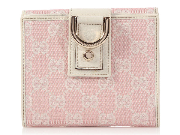 Gucci Pink Monogram New Abbey French Wallet