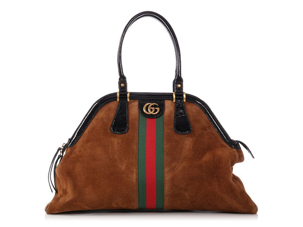 Gucci Large Brown Suede Re(belle) Top Handle Bag