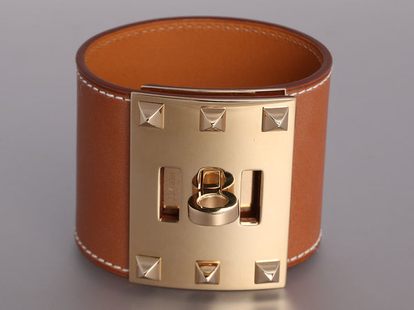 Hermès Barenia Natural Kelly Dog Extreme Bracelet