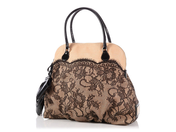 Valentino Straw and Lace Bow Dome Bag