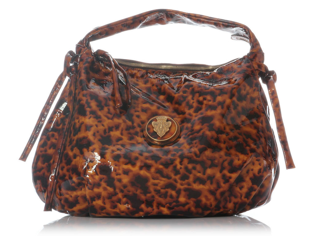Gucci Large Tortoise Patent Hysteria Hobo