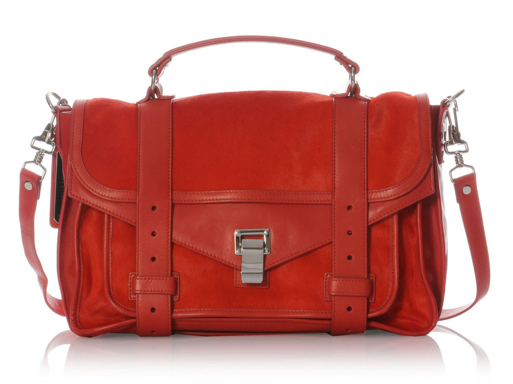 Proenza Schouler Medium Red Pony Fur PS1