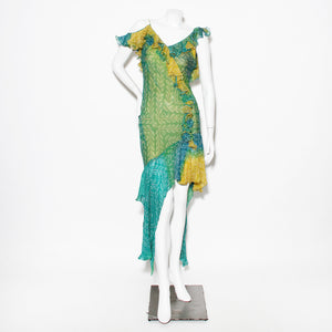 Dior Yellow Green Bias Cut Ruffle Dress