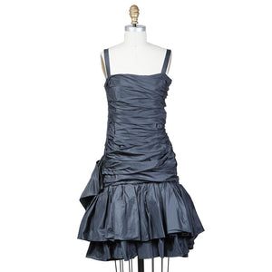 Haute Couture Gathered Dress with Side Bow circa 1980s