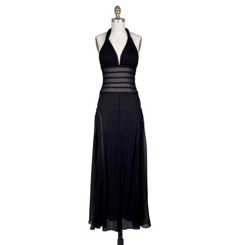 Halter Dress with Sheer Curved Panels