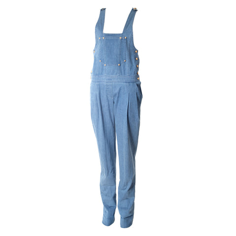 Light Blue Denim Overalls with Gold Buttons
