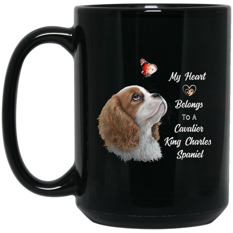 Cavalier King Charles Spaniel Gifts, Blenheim Cavalier, My Heart Belongs to a Cavalier mug - GoneBold.gift