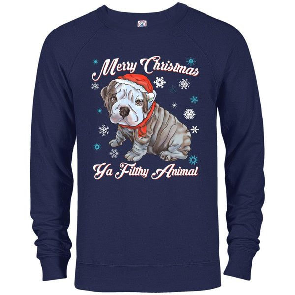 Christmas ugly Sweater Hoodie - English Bulldog Puffy Funny Gift Idea - GoneBold.gift