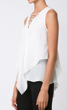 10 Crosby lace up handkerchief blouse