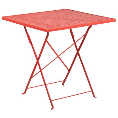 28'' Square Indoor-Outdoor Steel Folding Patio Table - Coral