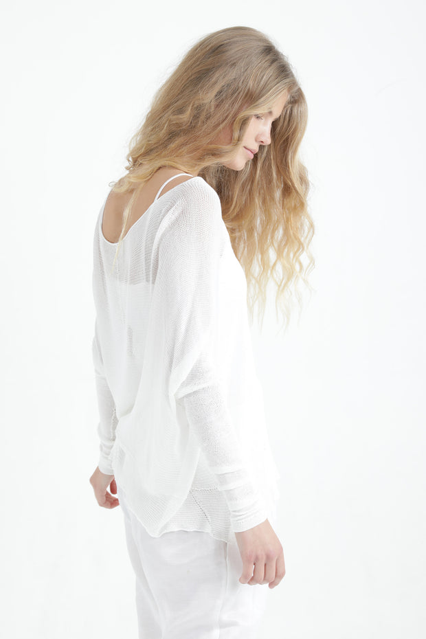 White Boat neck Long sleeve oversize knit top