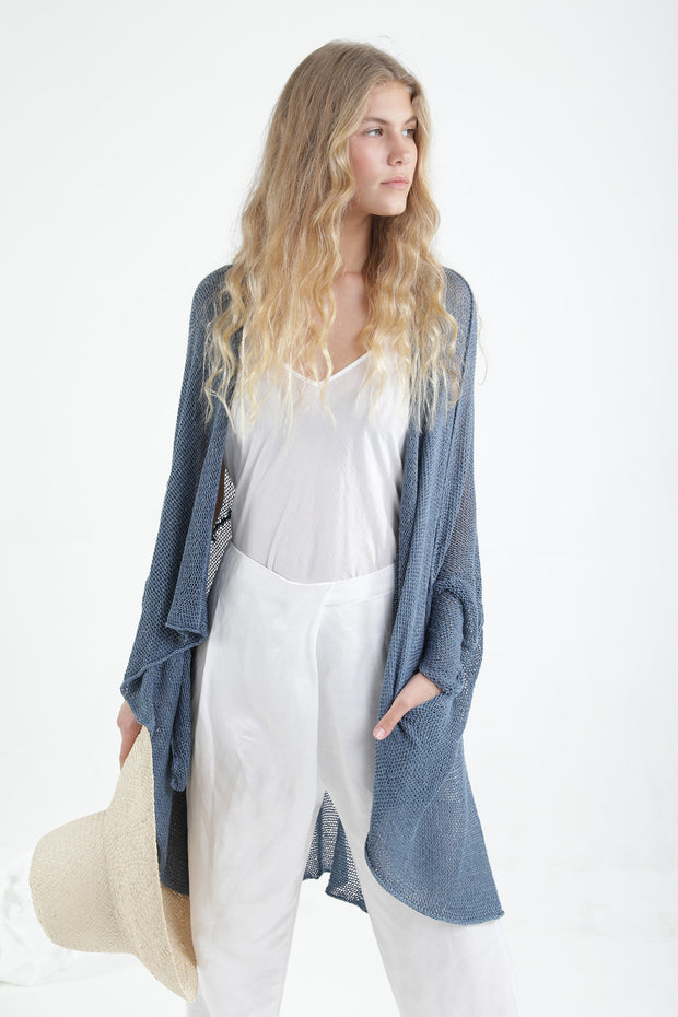 Peacock Blue Oversize T Light Sweater with Pockets