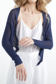 Indigo Navy Blue Short Light Bamboo Cardigan