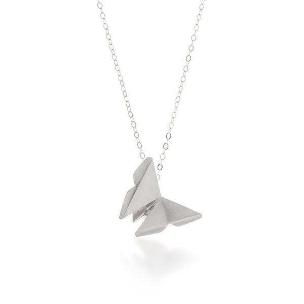 Origami Butterfly Necklace Silver