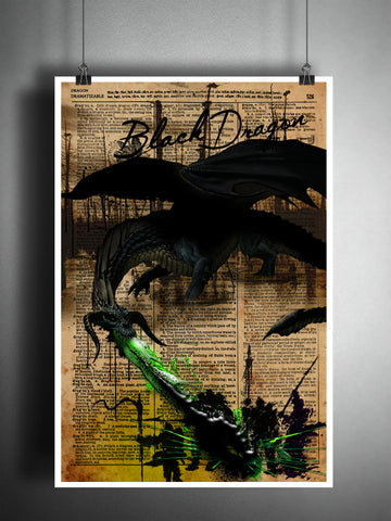 Black Dragon art print with Dragon dictionary page definition, fantasy monster artwork
