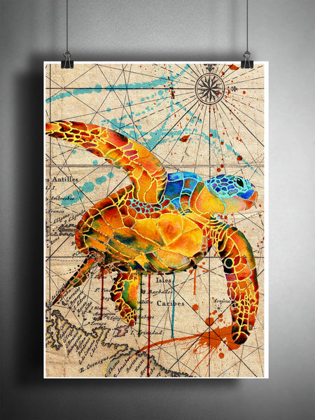 Sea turtle splatter art, colorful beach decor, old map artwork