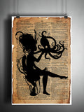 Victorian woman kissing octopus, pet octopod, steampunk art print