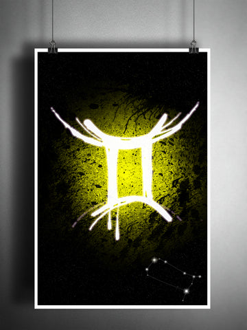 Gemini zodiac sign art, horoscope symbol artwork, Yellow air element