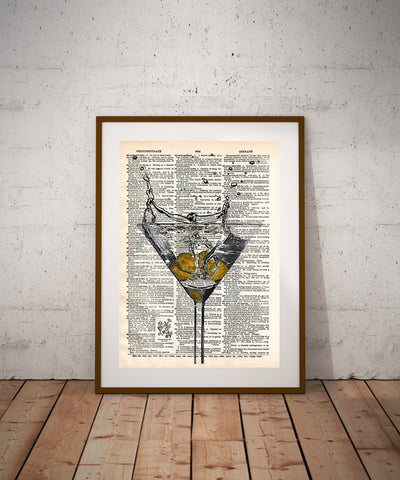 Martini splash art print, Martini art Martini bar, cocktail art print, mancave art -  - 1