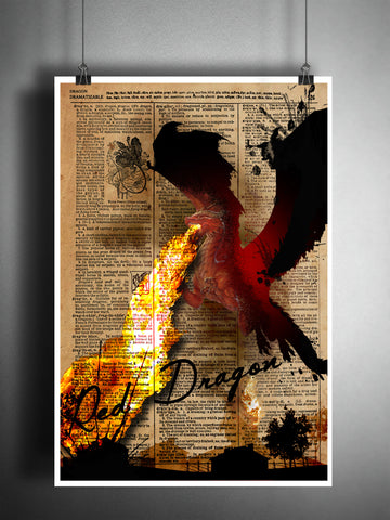 Red Dragon art print with Dragon dictionary page definition, fantasy monster artwork