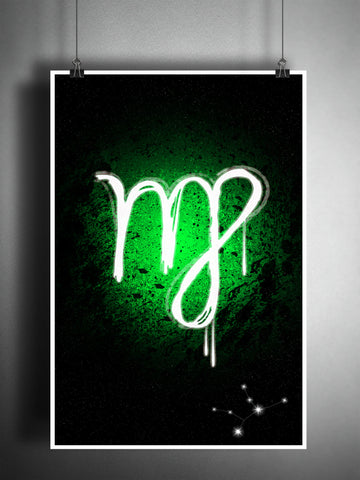 Virgo zodiac sign art, horoscope symbol artwork, green earth element