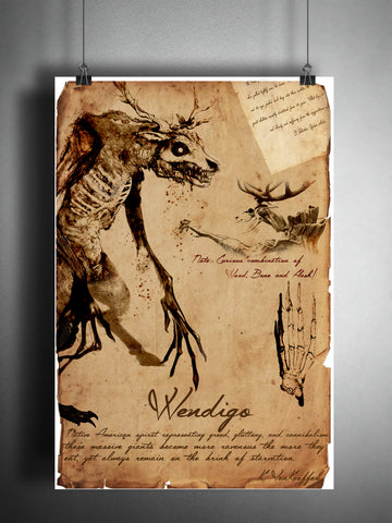 Wendigo cryptid art, bestiary cryptozoology science journal art, monsters and folklore, american indian folklore