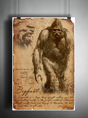 Bigfoot cryptid art, bestiary cryptozoology science journal art, monsters and folklore