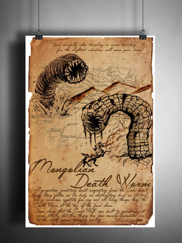 Mongolian death worm cryptid art, urban legend bestiary cryptozoology science journal art, monsters and folklore,
