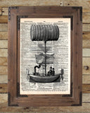 Steampunk steamship is the latest victorian technology, vintage illustration on dictionary page book art print -  - 2
