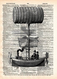 Steampunk steamship is the latest victorian technology, vintage illustration on dictionary page book art print -  - 1