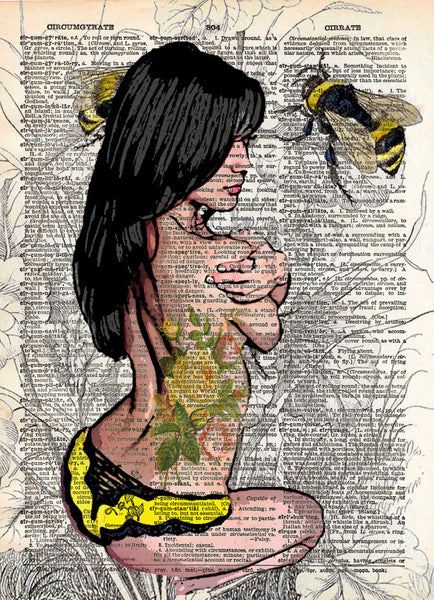 Sexy pinup girl, rockabilly tattoo pinup girl, bumblebee art, dictionary art -  - 1