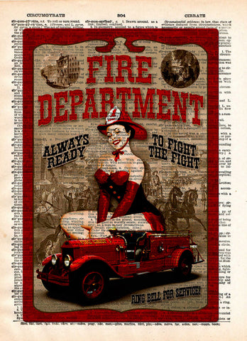 Pinup girl, Fire department sign, pin up art  vintage dictionary page art print -  - 1