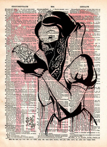 Snow White with grenade, GOIN graffiti street art, vintage dictionary print book page art -  - 1