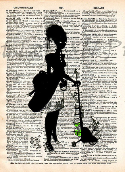 Absinthe art, Creepy victorian absinthe lady, dictionary page art print -  - 1