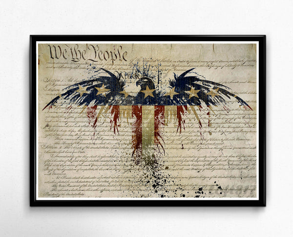 Patriotic Decor, American flag art, american eagle art print, US constitution art 2nd amendment art print